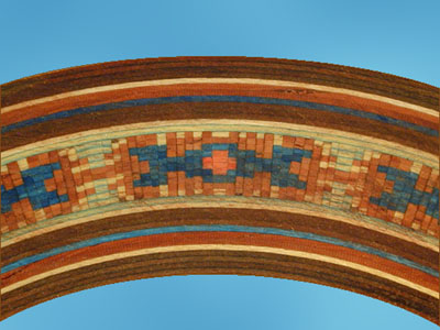 variety of mosaic rosettes in wood and fiber