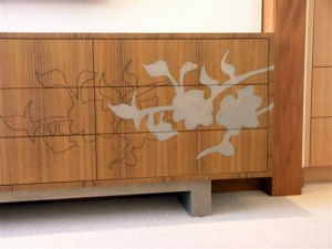 steel and wood furniture inlay