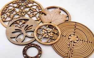 lasercut wood rosettes